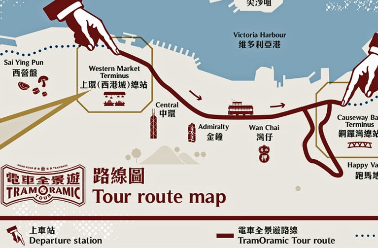 Hong Kong Sightseeing - TramOramic Tour Route