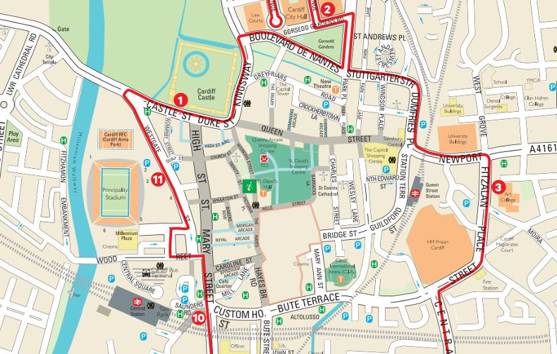 Cardiff Routes Maps Extrapolitan Hop On Hop Off