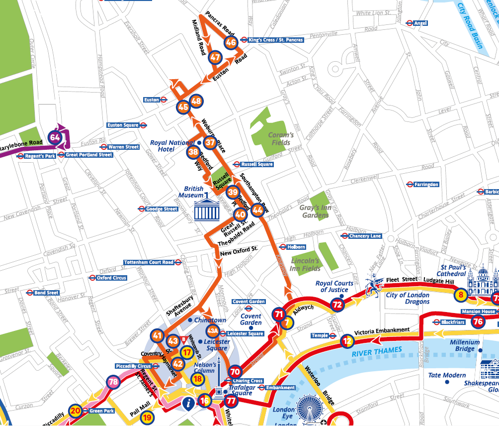 The Original Tour London Map.The Original Tour London Sightseeing Routes And Tickets