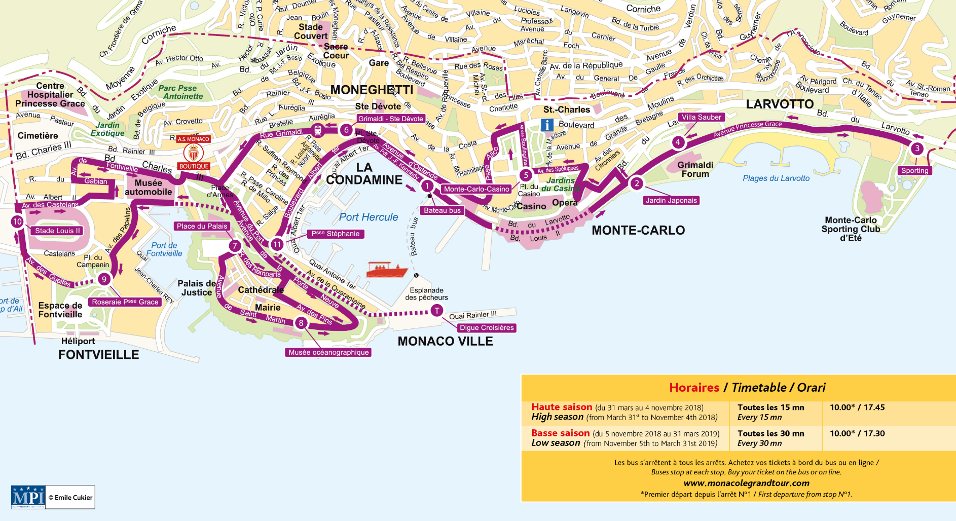 Monte Carlo World Map.Monaco Routes Maps Extrapolitan Hop On Hop Off Sightseeing