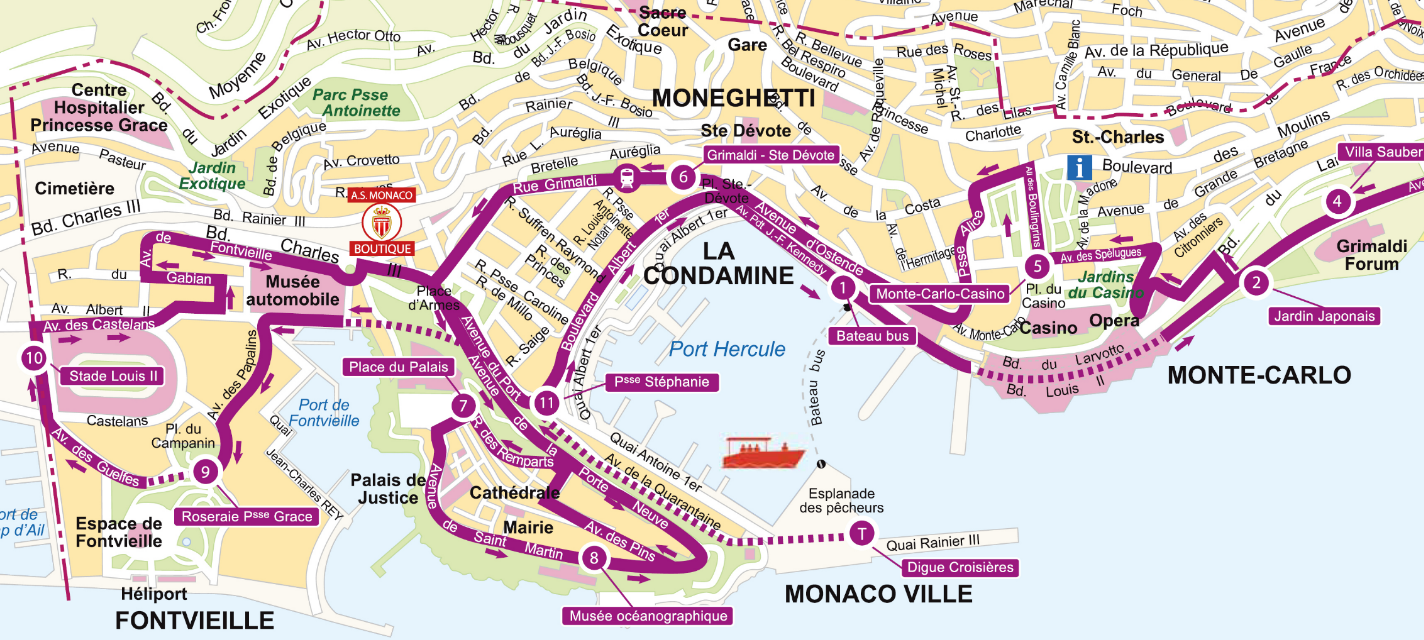 Monaco On Map Of France.Monaco Routes Maps Extrapolitan Hop On Hop Off Sightseeing