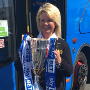 Cardiff Open-Top buses celebrate Cardiff City Football Club's promotion to the Premier League