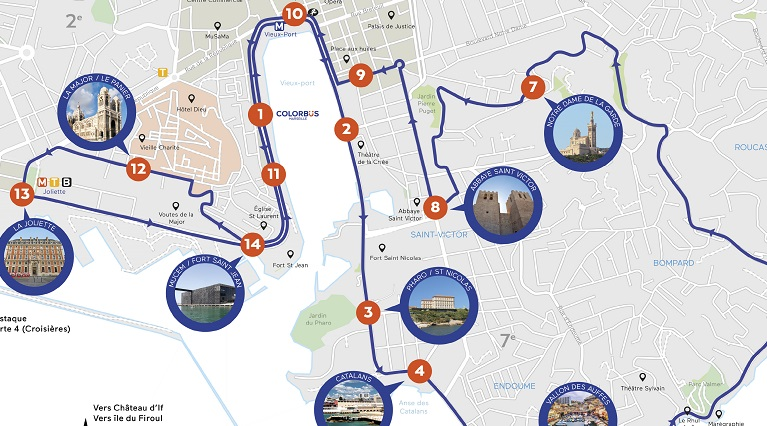 Colorbus Marseille - Sightseeing Tour Map